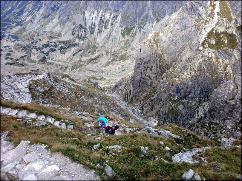 Orla Perć - łatwy odcinek zejścia ze Skrajnego Granatu - sierpień 2013